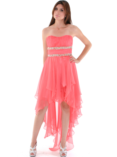 2274 Strapless High Low Cocktail Dress - Coral, Front View Medium