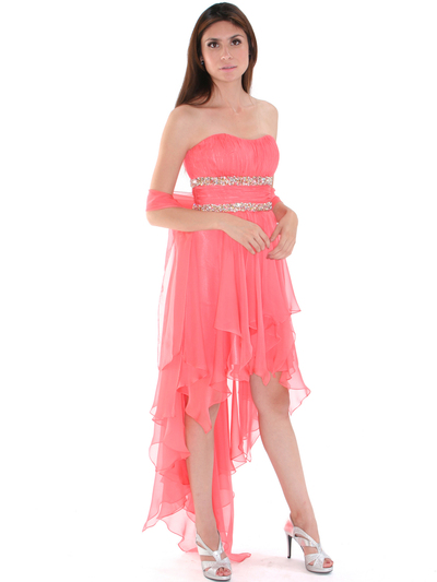 2274 Strapless High Low Cocktail Dress - Coral, Alt View Medium