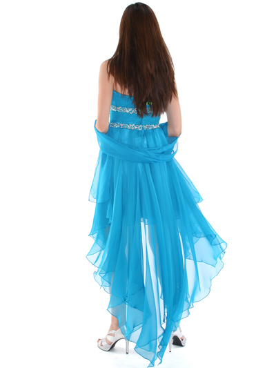2274 Strapless High Low Cocktail Dress - Turquoise, Back View Medium