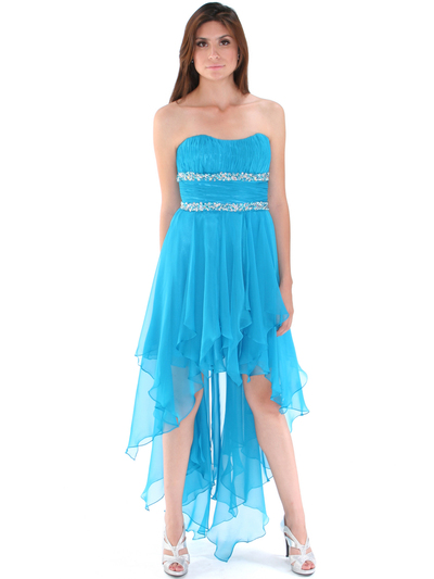 2274 Strapless High Low Cocktail Dress - Turquoise, Front View Medium