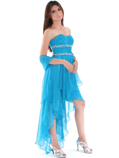 2274 Strapless High Low Cocktail Dress - Turquoise, Alt View Medium