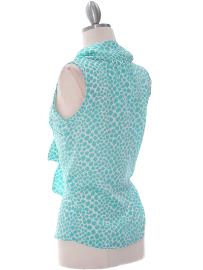 2776 Turquoise Tie Neck Chiffon Top - Turquoise, Back View Medium