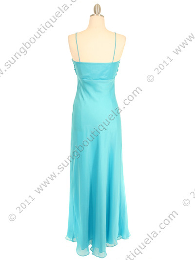 2831 Aqua Chiffon Evening Dress - Aqua, Back View Medium