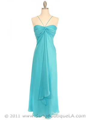 2831 Aqua Chiffon Evening Dress, Aqua