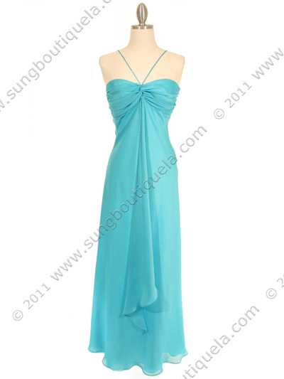 2831 Aqua Chiffon Evening Dress - Aqua, Front View Medium