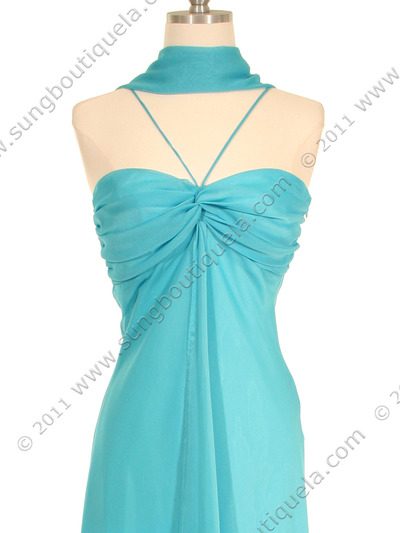 2831 Aqua Chiffon Evening Dress - Aqua, Alt View Medium