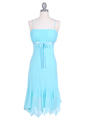 2834 Aqua Chiffon Cocktail Dress - Aqua, Front View Thumbnail