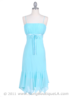 2834 Aqua Chiffon Cocktail Dress, Aqua