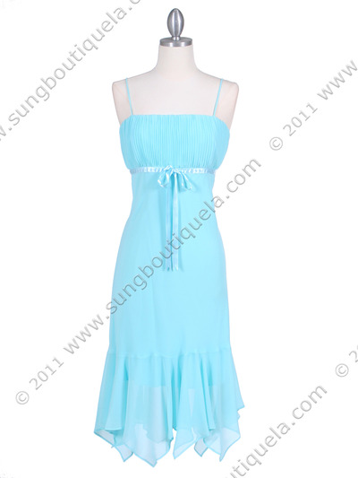 2834 Aqua Chiffon Cocktail Dress - Aqua, Front View Medium