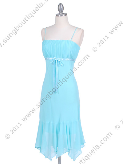 2834 Aqua Chiffon Cocktail Dress - Aqua, Alt View Medium