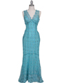 2884 Turquoise Lace Evening Dress - Turquoise, Front View Thumbnail