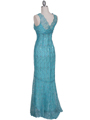 2884 Turquoise Lace Evening Dress - Turquoise, Back View Thumbnail