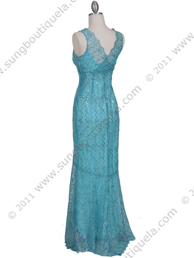 2884 Turquoise Lace Evening Dress - Turquoise, Back View Medium