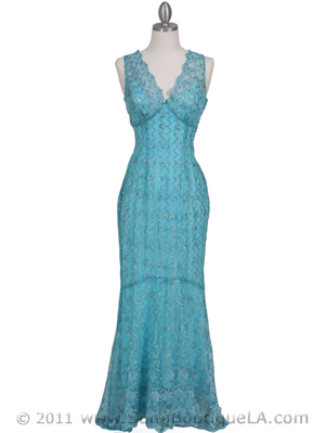 Turquoise Lace Evening Dress - Front Image