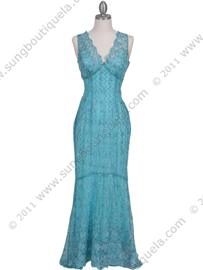 2884 Turquoise Lace Evening Dress - Turquoise, Front View Medium