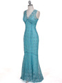 2884 Turquoise Lace Evening Dress - Turquoise, Alt View Thumbnail