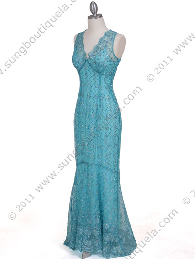 2884 Turquoise Lace Evening Dress - Turquoise, Alt View Medium