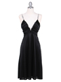 2949 Black Satin Cocktail Dress - Black, Front View Thumbnail