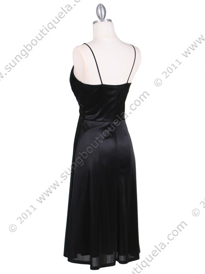 2949 Black Satin Cocktail Dress - Black, Back View Medium