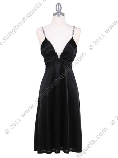 2949 Black Satin Cocktail Dress - Black, Front View Medium