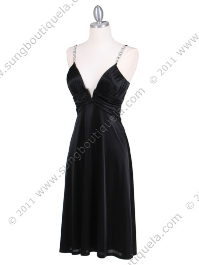 2949 Black Satin Cocktail Dress - Black, Alt View Medium