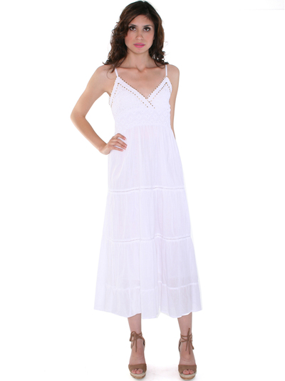 2951 White Summer Dress - White, Front View Medium