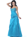 2  Turquoise Strapless Taffeta Jeweled Prom Dress - Front Image