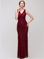 30-2030 Sleeveless Lace Overlay Evening Dress - Burgundy, Front View Thumbnail