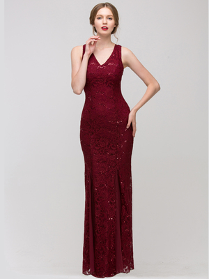 30-2030 Sleeveless Lace Overlay Evening Dress, Burgundy