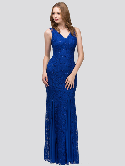 30-2030 Sleeveless Lace Overlay Evening Dress - Royal Blue, Front View Medium
