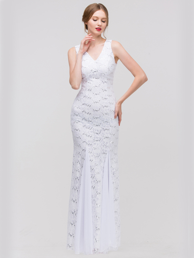 30-2030 Sleeveless Lace Overlay Evening Dress - White, Front View Medium