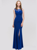 30-2063 Sleeveless Long Evening Dress with Slit, Royal Blue