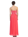 30-2067 Strapless Sweetheart Evening Dress - Coral, Back View Thumbnail