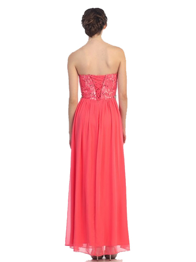 30-2067 Strapless Sweetheart Evening Dress - Coral, Back View Medium