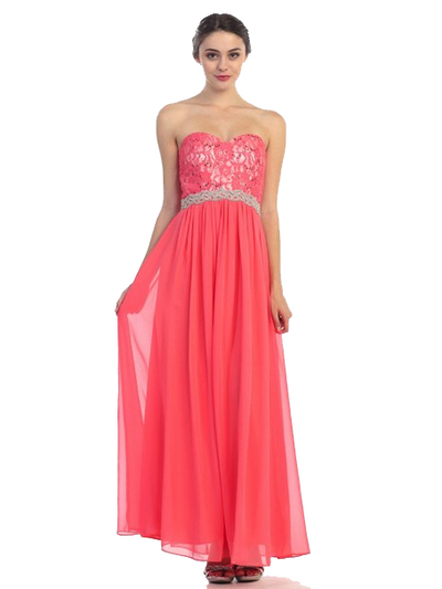 30-2067 Strapless Sweetheart Evening Dress - Coral, Front View Medium