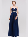 30-2067 Strapless Sweetheart Evening Dress - Navy, Front View Thumbnail
