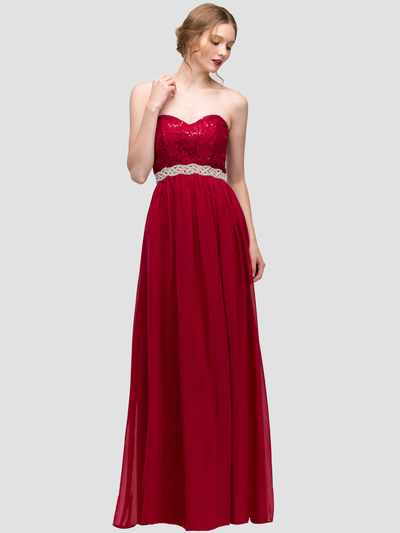 30-2067 Strapless Sweetheart Evening Dress - Red, Front View Medium
