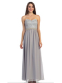 30-2067 Strapless Sweetheart Evening Dress - Silver, Front View Thumbnail