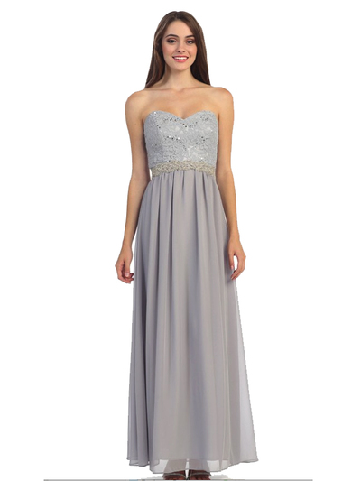 30-2067 Strapless Sweetheart Evening Dress - Silver, Front View Medium