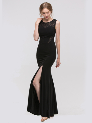 30-2073 Sleeveless Long Evening Dress with Slit, Black