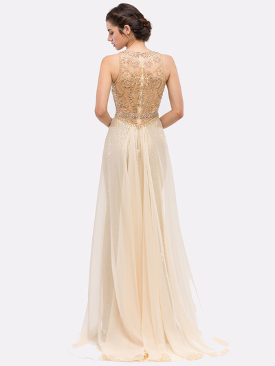 30-3335 Sleeveless Illusion Sequin Evening Dress - Gold, Back View Medium