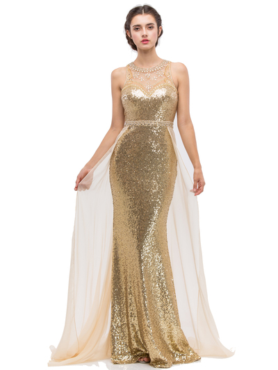 30-3335 Sleeveless Illusion Sequin Evening Dress - Gold, Front View Medium
