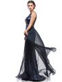 30-3335 Sleeveless Illusion Sequin Evening Dress - Navy, Front View Thumbnail