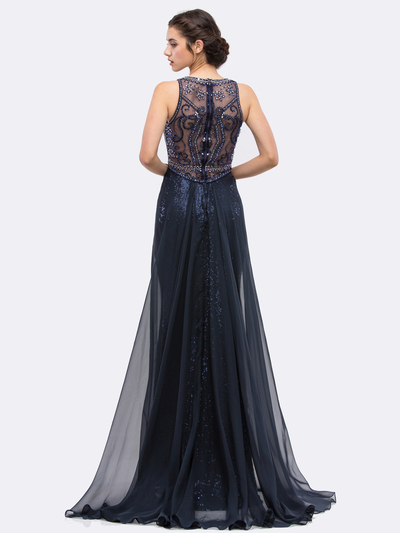 30-3335 Sleeveless Illusion Sequin Evening Dress - Navy, Back View Medium