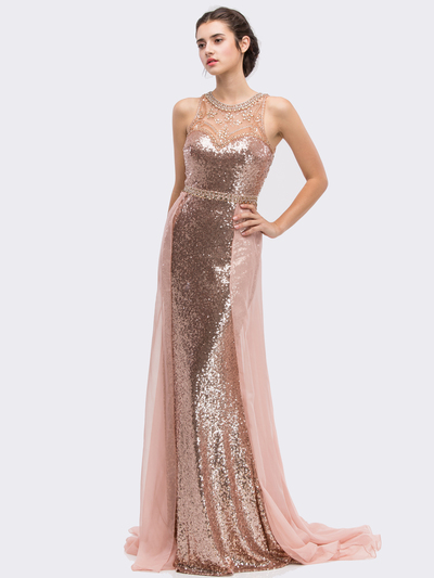 30-3335 Sleeveless Illusion Sequin Evening Dress - Rose Gold, Front View Medium