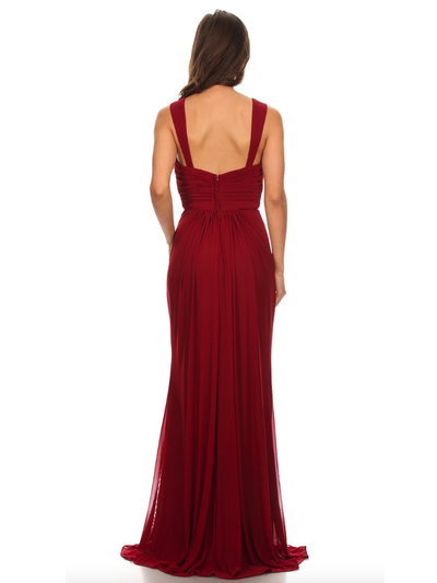 30-3440 Sleeveless Long Evening Dress - Burgundy, Back View Medium