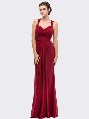 30-3440 Sleeveless Long Evening Dress, Burgundy