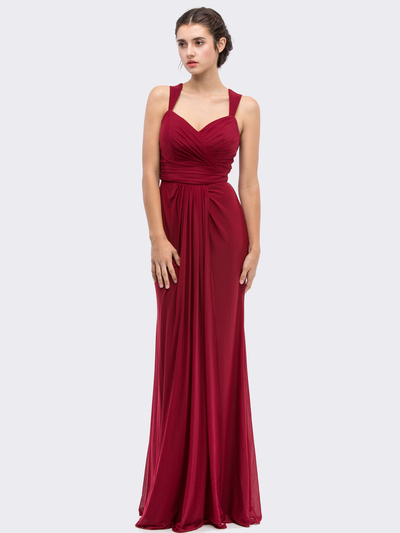 30-3440 Sleeveless Long Evening Dress - Burgundy, Front View Medium