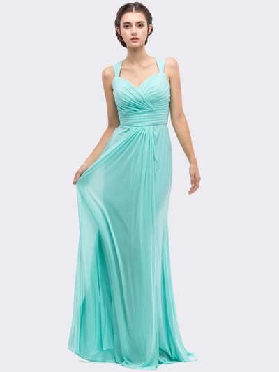 30-3440 Sleeveless Long Evening Dress - Mint, Front View Medium