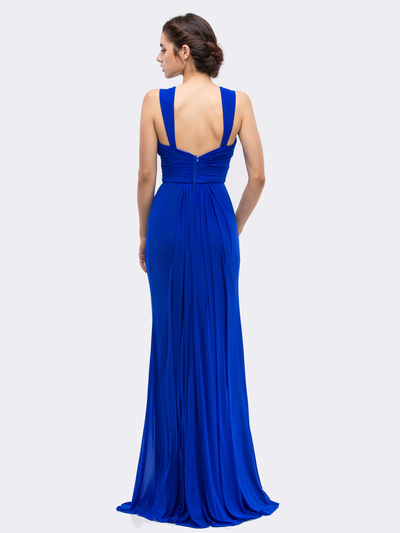 30-3440 Sleeveless Long Evening Dress - Royal Blue, Back View Medium